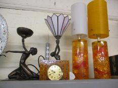 Table lamps to include a pair of 1970's Retro lamps with Shatterline crushed ice Perspex cylinder
