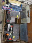 A tool chest housing socket sets, Bosch grinder, test kit, glue gun, drills and drill bits