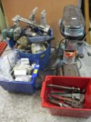 A Draper Piller drill, bench grinder and mixed hand tools