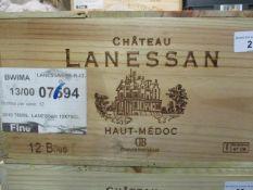 Twelve cased bottles of Chateau Lanessan Haut-Medoc 2010 Location FSR