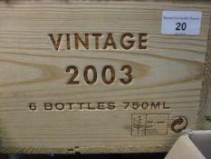 Six cased bottles Niepoort, 2003 vintage, 750ml Location 3,2
