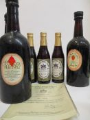 Three bottles of Burton upon Trent centenary Ale 1878-1978 with certificate and three bottles of