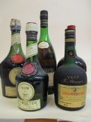 Five bottles of spirit to include Remy Martin Cognac and Courvoisier