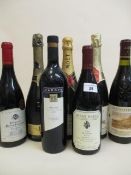 Three bottles of Champagne to include Moet & Chandon and four bottles of wine to include Chateauneuf