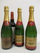 Three bottles of Bredon Champagne Cuvee Jean Louis, 75cl and one bottle of sherry