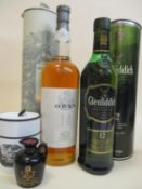 One bottle of cased Glenfiddich 12 year old Single Malt, 70cl, one bottle of cased Oban 1lt and