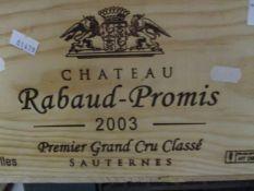 Twelve cased bottles of Chateau Rabaud-Promis 2003 Sauternes Premier Grand Cru Classe Location RAM