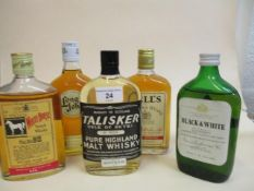Five bottles of Scotch Whisky to include Bells, Black & White, Long John and White Horse, 13 1/3