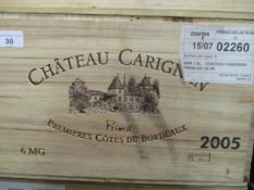 Six cased magnums Chateau Carignan Premiere Cotes De Bordeaux 2005 Location 4.5