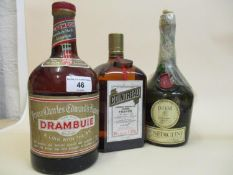 Three liqueur bottles - Dom Benedictine, Cointreau and Drambuie Prince Charles Edwards liqueur
