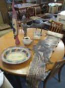 A mixed lot of ethnic and interior design artefacts to include a snake skin, tribal art figurine,