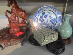 A group of Chinese ceramics and carved wood to include an 18th century blue and white plate together