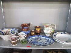 A selection of 18th/19th century and later ceramics to include a Chinese blue and white oval dish (