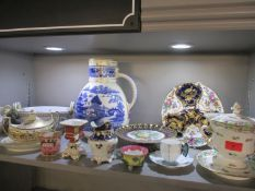 A selection of early 19th century Victorian and later ceramics to include a twin handled serving