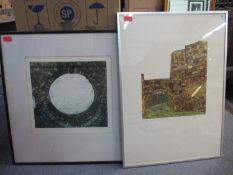 Zena Flax (British b1930) - The Dana, Shrewsbury/Through Atcham Bridge two signed two signed limited