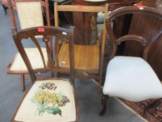 Two Edwardian chairs, one folding, together with a 1950's beech folding chair and a Victorian kidney
