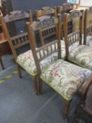 A set of six dining chairs, circa 1900's, having modern upholstered seats
