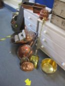 A copper log and coal bucket, fireside implements, a copper warming pan, a brass fireside