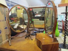 A mixed lot of small furniture to include a Georgian style inlaid walnut dressing table swing mirror