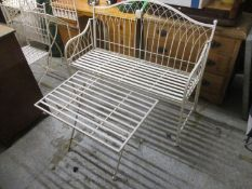 A modern off white painted metal folding garden bench 117cm w and a similar folding table