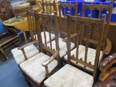 A reproduction mahogany sofa table, a reproduction nest of tables A/F, six Ercol chairs and an Ercol