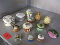 A selection of pill boxes to include Limoge, Worcester, Staffordshire Enamels and Halcyon Days