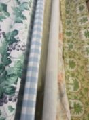Five bolts of fabric in varying lengths comprising Arthur Sanderson Bacchus ivy fabric, Jessica