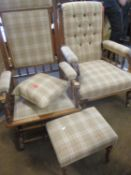 An American rocking chair together with a Victorian oak open armchair with galleried sides, two