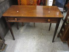 An early 19th century mahogany single drawer, side table, on square tapered legs 70 x 104 x 48cm