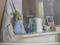 Meredith Ramsbotham (British b1940). circa 1982 - Mantlepiece with Mirror and Jug - oil on canvas 40
