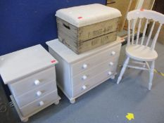 A modern pine chest of three long drawers, a matching bedside chest and a kitchen chair, all painted
