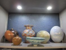 A selection of studio pottery bowls and vases to include a Christine Gittins (b1948), ovoid vase,