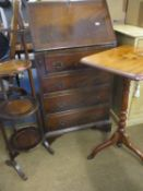 Three items of early to mid 20th century furniture comprising a mahogany bureau 100cm high x 40cm