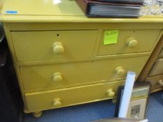A Victorian painted pine three drawer chest and a pine drop leaf table