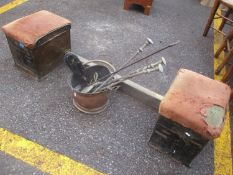 A 1930s Club fender, together with a coal bucket and fireside implements