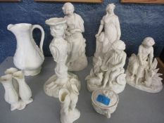 Mixed Parian figures, vases and other Parian items A/F