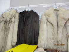 "A saga fox jacket with shawl collar 36"" chest x 26"" long A/F together with a Churchill Furs sage fox"