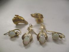 Two 9ct gold earrings fashioned as Greyhound heads together with four 9ct gold opal set earrings,