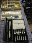 Boxed Laguiole salad servers, mixed silver plate and stainless steel cutlery and flatware, an Arthur