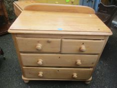 A Victorian pine chest of two short and three long drawers raised on turned feet 90cm h x 88cm w