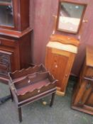 A Victorian dressing table swing mirror, pine cupboard and a mahogany magazine table