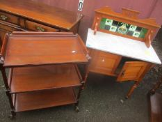 A mixed lot of furniture to include an Edwardian marble topped wash stand, a three tier trolley