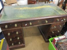 A mahogany twin pedestal desk with green leather scriber A/F