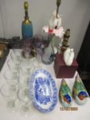 Ceramics and glassware to include three lamps, a set of coloured glasses and matching decanter,