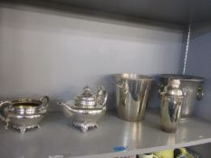 Mixed metalware to include a cocktail shaker, ice buckets and a Victorian teapot