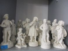 Mixed Parian figures A/F and busts to include one of a young Beethoven? and a composition figural