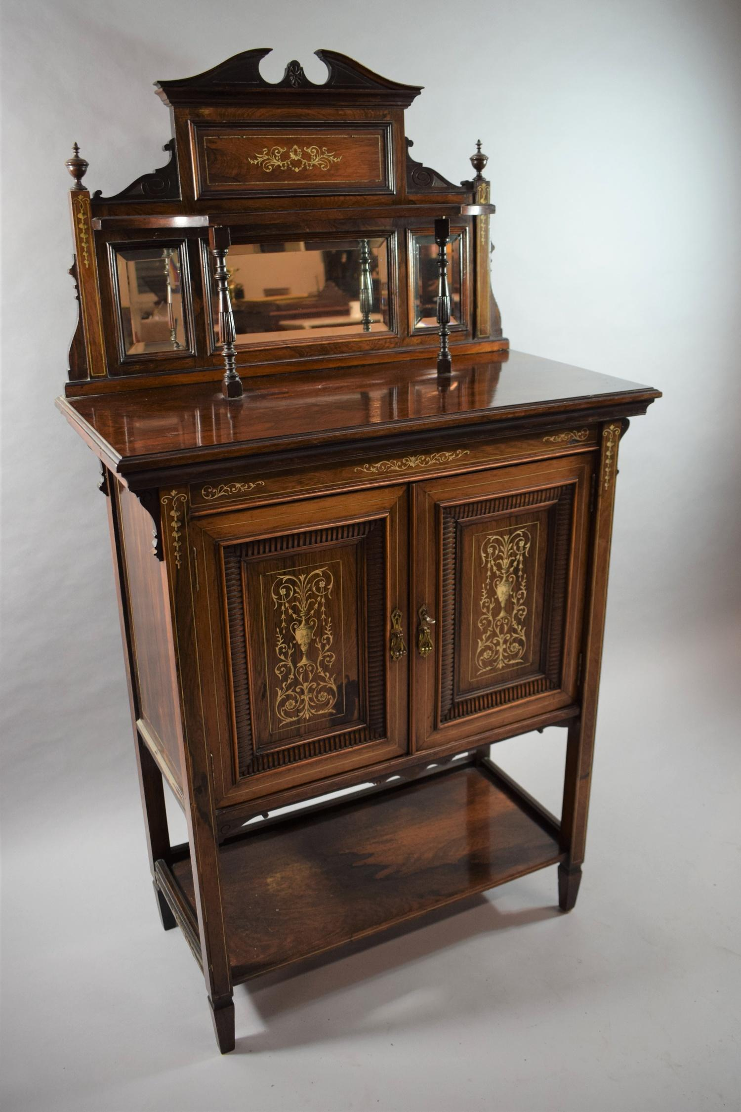 Lot 23 - A Late Victorian Edwardian Ivory Inlaid Rosewood Chiffonier Cabinet with Panelled Doors to Centre