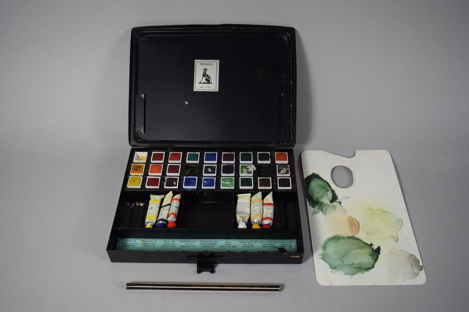 """Lot 54 - A Vintage Metal Painting Box, """"Reeves' Water Colour Box No. 60"""" with Pencil and Palette, 24cms Wide"""