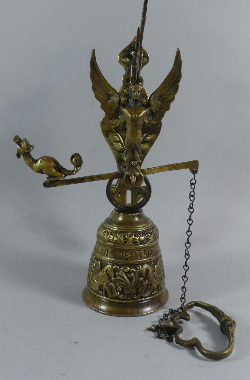 Lot 36 - A Continental Brass Wall Mounting Bell, 38cm High