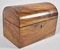 A 19th Century Dome Top Rosewood Work Box Containing Silks, 20.5cm wide